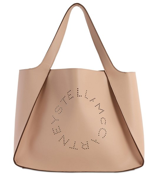 Stella McCartney Eco soft laser perforated logo tote bag in cipria