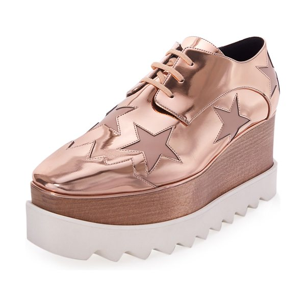 Stella McCartney Elyse Star Platform Oxford in copper/tea rose - Stella McCartney metallic faux-leather...
