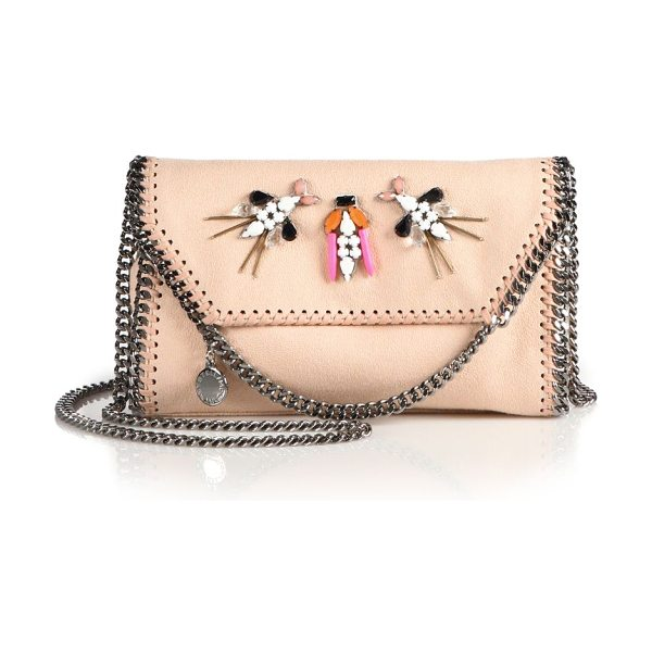 Stella McCartney Falabella embellished faux suede chain clutch in powder - Signature chain clutch with beaded embellishmentsChain...