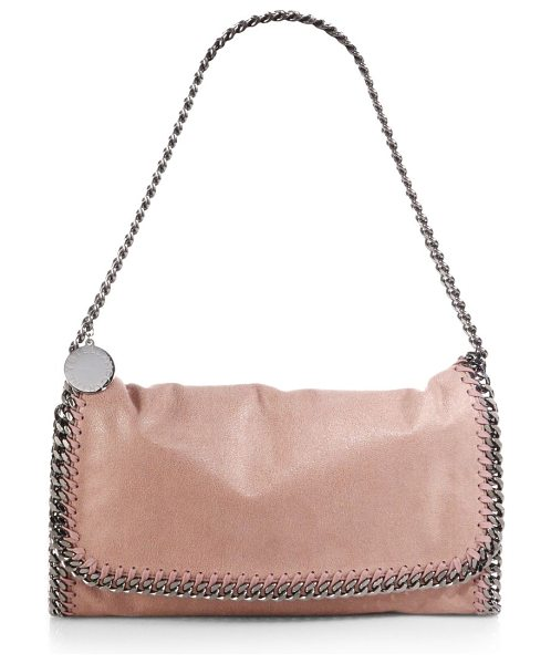 Stella McCartney Falabella faux-leather fold-over shoulder bag in pink - Soft faux-leather shoulder bag styled with tonal...