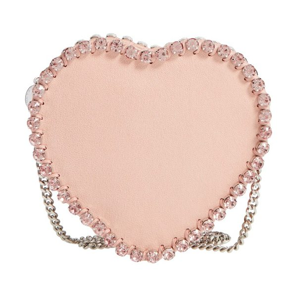 Stella McCartney Falabella heart crystal embellished faux leather crossbody bag in powder - Glinting pink crystals highlight the lovely silhouette...
