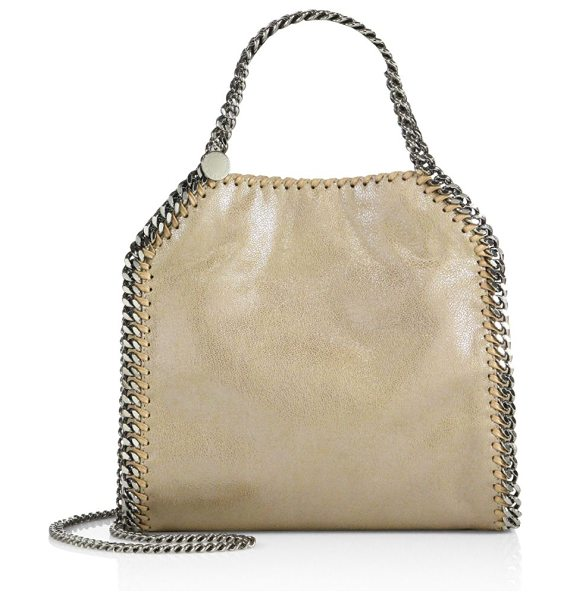 Stella McCartney falabella mini baby bella metallic faux suede tote in tan - Classic chain-trimmed tote in lustrous faux suede....