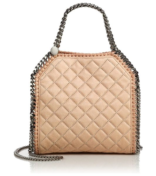 Stella McCartney Falabella mini baby bella quilted & studded faux leather shoulder bag in powder - This favorite Stella McCartney silhouette is redefined...