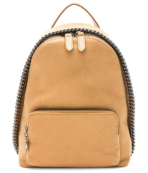 Stella McCartney Falabella Mini Backpack in honey - Shaggy deer fabric with signature jacquard fabric lining...