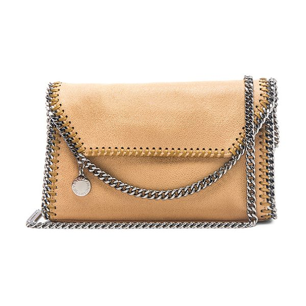 Stella McCartney Falabella Mini Shoulder Bag in honey - Shaggy deer fabric with signature poly lining and...