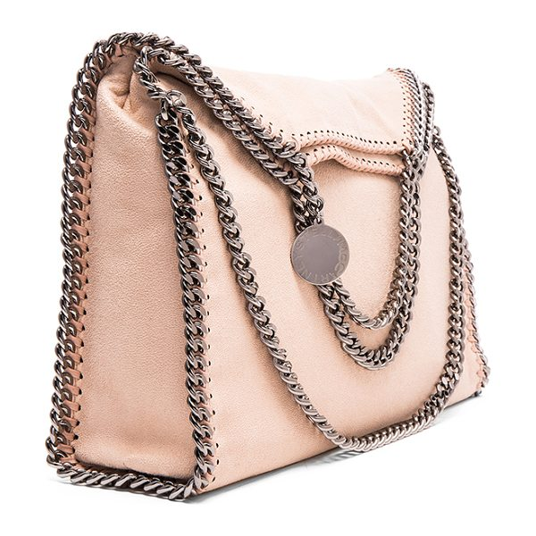 Stella McCartney Falabella Shaggy Deer Fold Over Tote in neutrals,pink