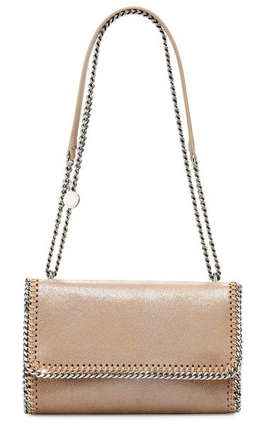 STELLA MCCARTNEY Falabella Shiny Chain-Trim Crossbody Bag in light pink - Stella McCartney crossbody bag in shiny iridescent...