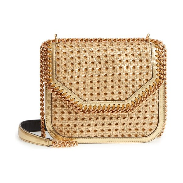 Stella McCartney falabella woven metallic faux leather shoulder bag in gold - A boxy, structured shoulder bag-updated in metallic faux...