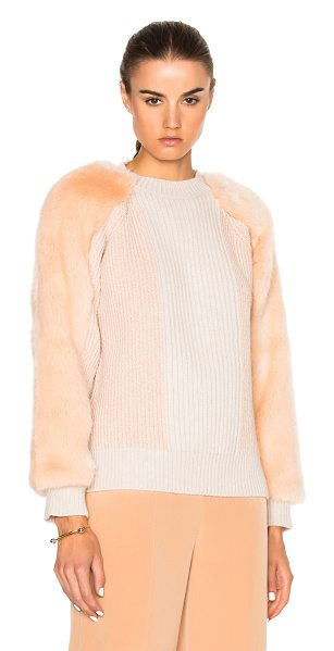 Stella McCartney Faux Fur Jumper in pink - Self: 100% virgin wool - Trim: 100% modacrylic - Trim 2:...