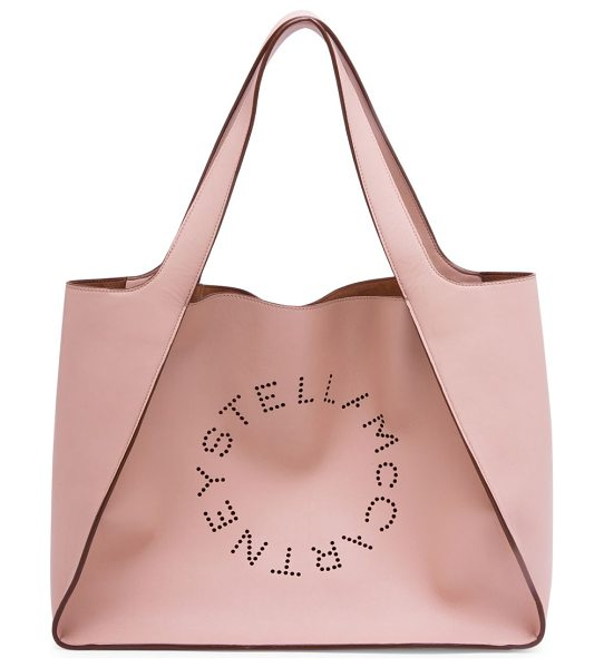 STELLA MCCARTNEY faux leather boxy tote bag - Perforated logo detail defines this oversized tote. Two...
