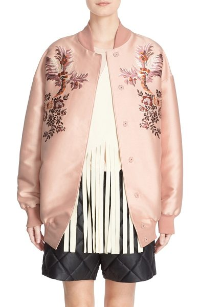Stella McCartney floral embroidered duchesse satin bomber jacket in rose - With its soft, rosy hue, silken sheen and mirrored...