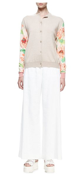 STELLA MCCARTNEY Floral-Print Long-Sleeve Cardigan - Stella McCartney wool cardigan with floral-print sleeves...