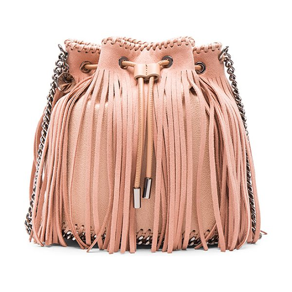 STELLA MCCARTNEY Fringe bucket bag - Shaggy deer fabric with signature print poly lining and...