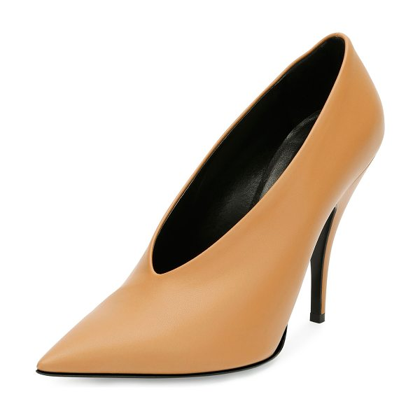 Stella McCartney High-Vamp Pointed-Toe Pump in tan - Stella McCartney faux-leather...