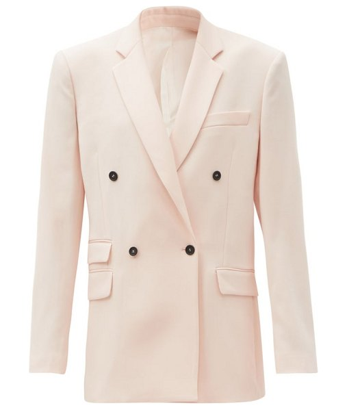 Stella McCartney holden double-breasted wool jacket in light pink