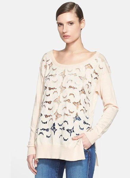 Stella McCartney lace front cotton knit pullover in powder - A scooped shoulder-skimming neckline furthers the easy...
