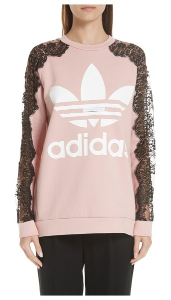 Stella McCartney lace inset adidas logo sweatshirt in pink
