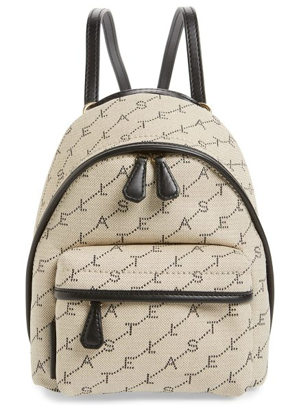 Stella McCartney logo canvas mini backpack in beige - A perforated-look logo motif brands a miniature canvas...