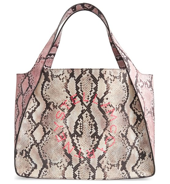Stella McCartney logo snake print faux leather tote in pink
