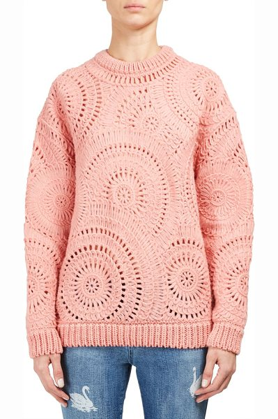 Stella McCartney macrame circle stitch knit pullover in blush - Smart knit pullover with circle stitch design allover....