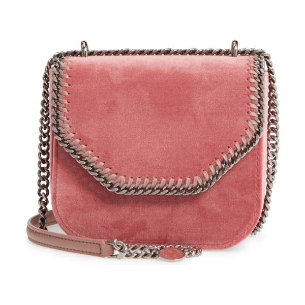 Stella McCartney mini falabella box velvet shoulder bag in rose - A boxy, structured shoulder bag-updated in luxuriously...