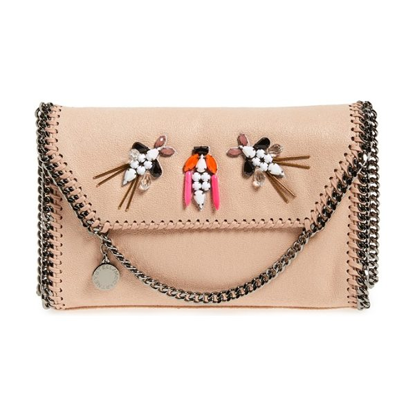 STELLA MCCARTNEY Mini falabella crystal embellished faux leather shoulder bag - Gleaming gunmetal chains trace the contours of a...