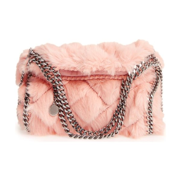 Stella McCartney 'mini falabella' quilted faux fur tote in nude - Fresh for fall, this staple handbag silhouette is...