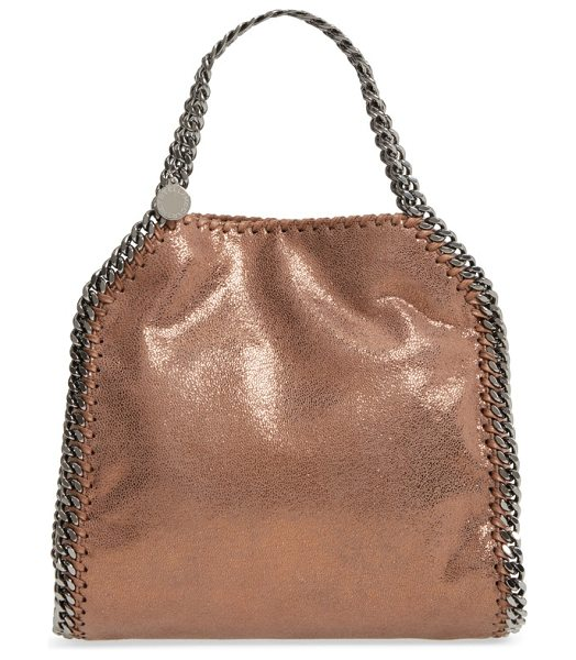 STELLA MCCARTNEY mini falabella shaggy deer metallic faux leather tote - A gorgeous tote done in dazzling metallic faux leather...