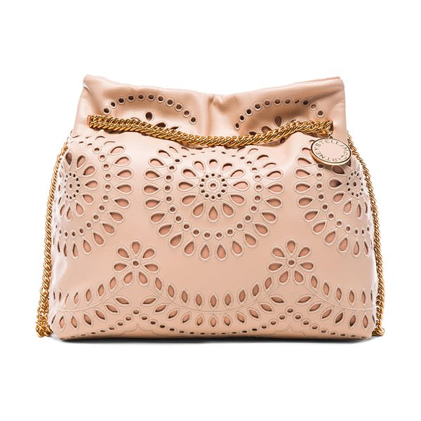 Stella McCartney Noma shoulder bag in neutrals - Embroidered eco alter nappa with faux suede lining and...