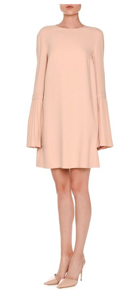 STELLA MCCARTNEY Pleated Bell-Sleeve Swing Dress - Stella McCartney crepe dress. Jewel neckline. Long...