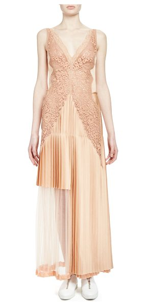 Stella McCartney Pleated Lace-Trimmed Gown in peach - Stella McCartney pleated gown with lace trim. Deep V...
