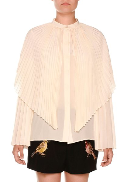 Stella McCartney Pleated Silk Capelet Blouse in natural - Stella McCartney georgette blouse with pleated capelet...