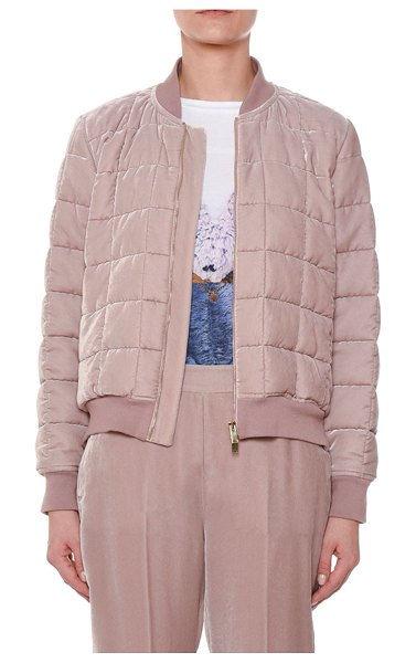 Stella McCartney Quilted Zip-Front Puffy Bomber Jacket w/ Side Zip in pink