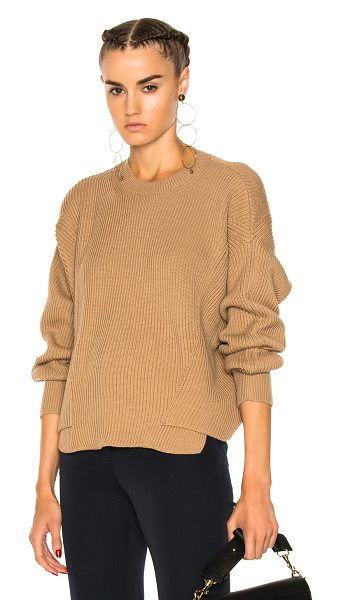 Stella McCartney Ribbed Crew Neck Sweater in neutrals,brown - 100% virgin wool.  Made in Italy.  Dry clean only.  Rib...