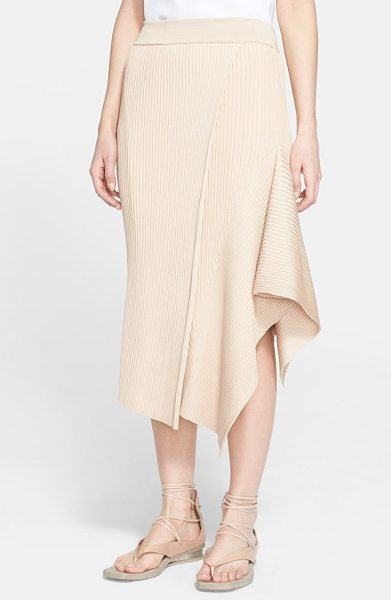 Stella McCartney ribbed side drape midi skirt in powder - A powdery neutral hue softens the aesthetic of a ribbed...
