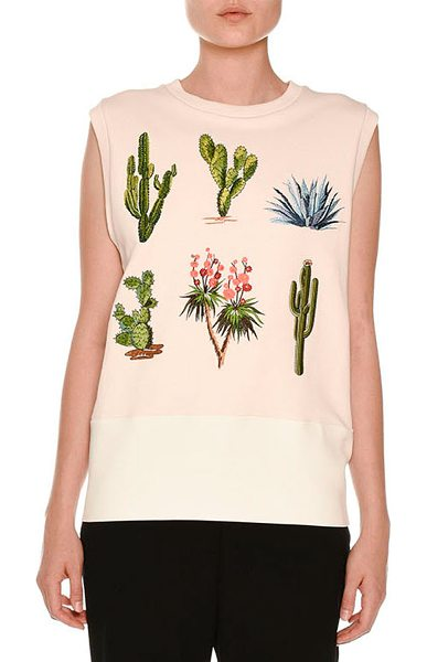 Stella McCartney Scuba Cactus-Patch Sleeveless Sweater in jasmine pink - Stella McCartney scuba sweater with cactus patches. Crew...