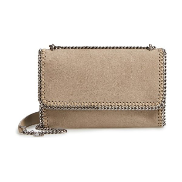 Stella McCartney shaggy deer flap shoulder bag in stone - Diamond-cut chains lend distinctive sophistication to a...