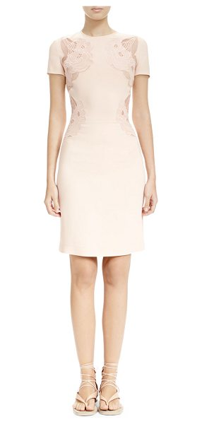 Stella McCartney Sheer cloud-embroidered applique dress in rose - Stella McCartney woven dress with sheer...