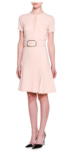"Stella McCartney Short-Sleeve Keyhole Belted Dress in rose - Stella McCartney cady dress. Approx. 37.5""L down center..."