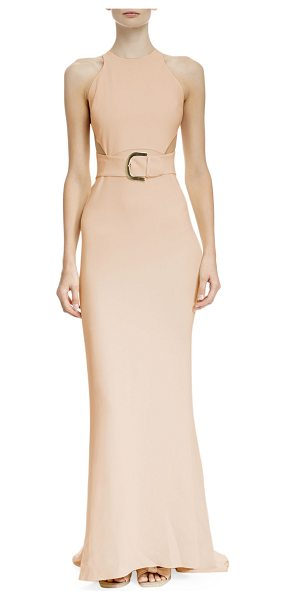 Stella McCartney Side-slit racerback belted gown in rose