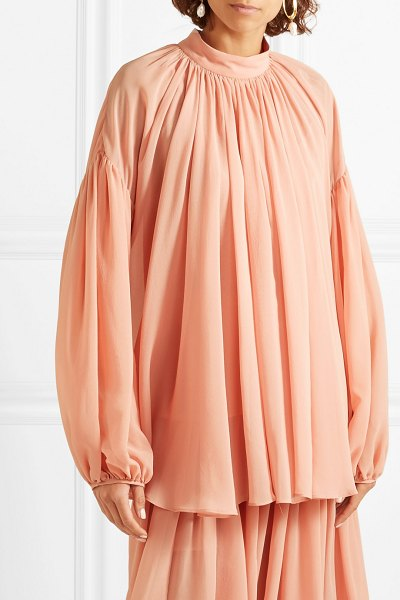 Stella McCartney silk-georgette top in blush - Stella McCartney uses softly draped fabrics to create...