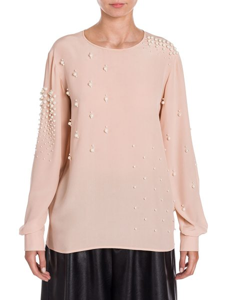 Stella McCartney silk pearl-embellished blouse in rose - Pearl studs embellish modern smooth silk top. Roundneck....