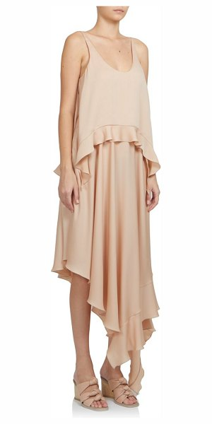 Stella McCartney Silk ruffle tank dress in powder - A light-as-air design in fluid silk, composed of layered...
