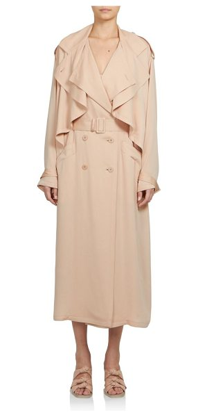 Stella McCartney Silk ruffle trenchcoat in powder