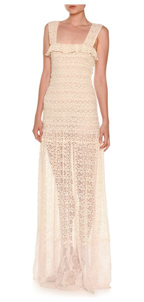Stella McCartney Sleeveless Smocked Lace Gown in natural - Stella McCartney lace gown. Ruffled square neckline....