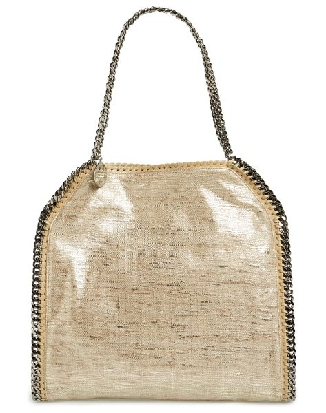Stella McCartney Small falabella metallic tricot tote in sand