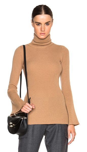 Stella McCartney Soft ribs turtleneck sweater in neutrals - 100% virgin wool.  Made in Italy.  Rib knit fabric.