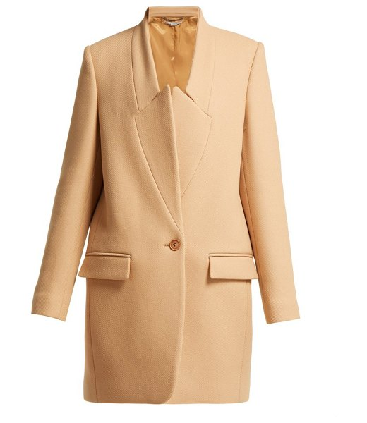Stella McCartney bryce inverted lapel wool coat in beige
