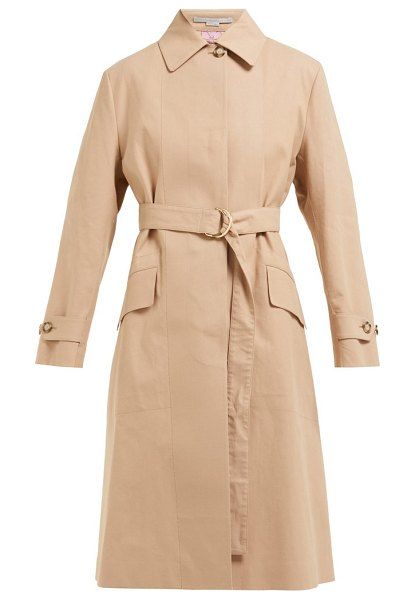 Stella McCartney single breasted cotton trench coat in camel