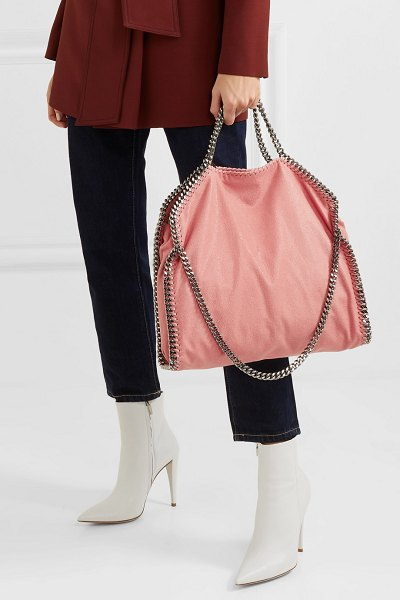 Stella McCartney the falabella small faux brushed-leather shoulder bag in blush - What we love about Stella McCartney's iconic 'Falabella'...